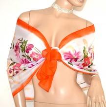 STOLA foulard coprispalle donna 40% seta bianco arancio rosa viola verde A22