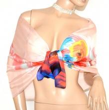 STOLA foulard coprispalle donna 40% seta velata rosa cipria rosso blu elegante cerimonia A18