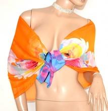 STOLA foulard coprispalle elegante donna 40% seta cerimonia arancio azzurro rosa velata A18