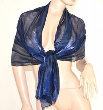 STOLA FOULARD donna da CERIMONIA elegante BLU Coprispalle metallizzato tinta unita x abito vestito da sera