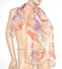 STOLA FOULARD donna SETA coprispalle BEIGE GLICINE CORALLO elegante VELATO x abito da cerimonia scarf 160