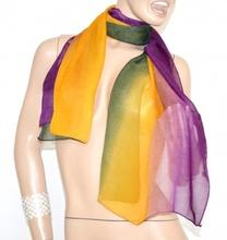 STOLA foulard VIOLA GIALLO VERDE coprispalle SETA donna ELEGANTE cerimonia vestito sera 20X
