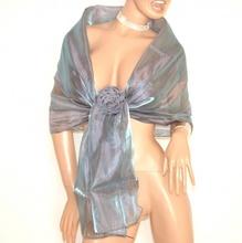 STOLA GRIGIO ARGENTO GLICINE coprispalle donna foulard scialle da cerimonia F750