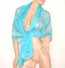 STOLA MAXI 20% SETA donna FOULARD CELESTE azzurro COPRISPALLE elegante velato da cerimonia 800