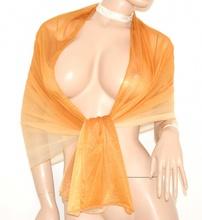 STOLA maxi BEIGE ORO AMBRA foulard SETA donna cerimonia elegante coprispalle abito da sera 30X
