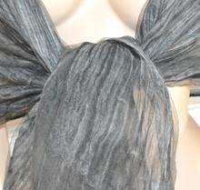 STOLA NERA GRIGIO donna coprispalle maxi foulard 80% seta scialle elegante da cerimonia H10