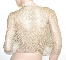 STOLA ORO coprispalle scialle filo dorato donna maxi foulard a rete traforato A70
