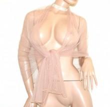 STOLA ROSA CIPRIA donna foulard coprispalle tulle velato sciarpa scialle trasparente argento abito G75