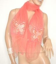 STOLA ROSA CORALLO foulard velato donna elegante strass coprispalle x abito da sera 5X