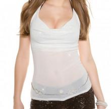 TOP BIANCO donna canotta maglietta sottogiacca sexy schiena nuda elegante AZ85
