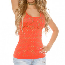 TOP CANOTTA arancione ORO donna maglia giromanica sottogiacca T-shirt borchie dorate strass AZ44