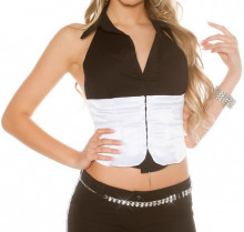 TOP NERO BIANCO donna canotta bustino strass smanicato camicia corsetto sottogiacca maglietta AZ32