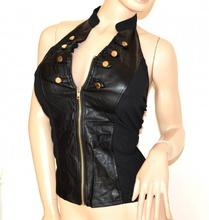 TOP NERO donna canotta sottogiacca eco pelle elastico maglietta sexy zip oro A30