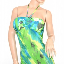 Vestito ABITO LUNGO DONNA fantasia floreale verde celeste bandeau ELEGANTE da sera 95C