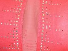VESTITO abito miniabito CORALLOa donna tubino velato strass elegante cerimonia matrimonio damigella 80