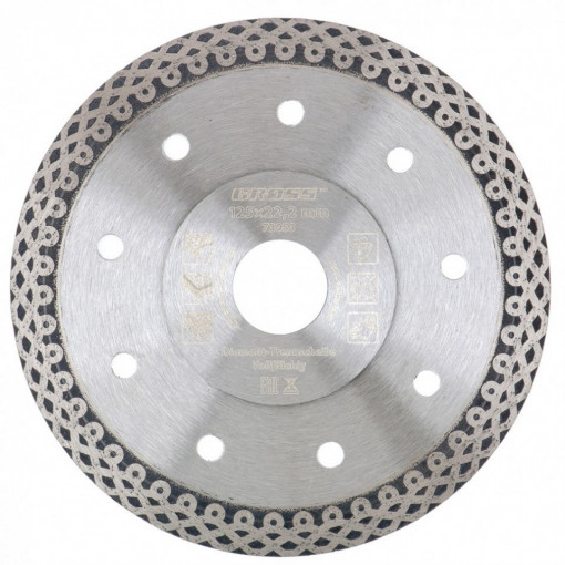 Disc diamantat 125 x 1,2 x 22,2mm, subtire, continuu (Jaguar), taiere umeda // GROSS