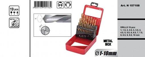 Kit burghie, ø1.0-10mm HSS + TIN set 19pcs, Raider