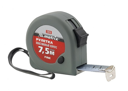 Ruleta Fine, 7,5 m x 25 mm, corp din plastic MTX Profesional