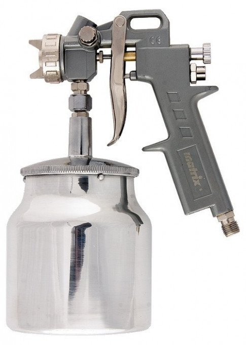 Pistol pneumat. p/u vopsit, rezervor-part. de jos, V=1,0 L, diametru duze 1.2, 1.5 si 1.8 mm, MTX Profesional