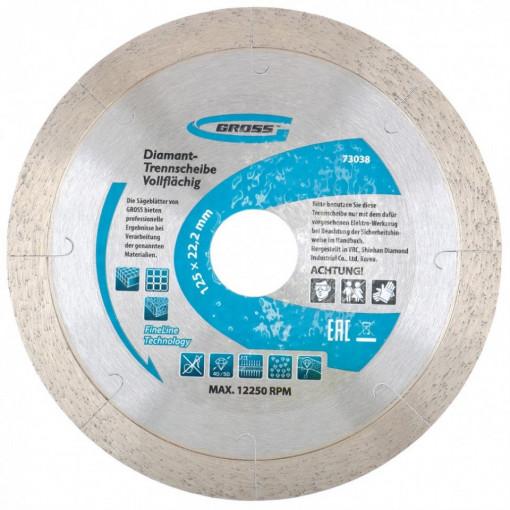 Disc diamantat 125 x 2,4 x 22,2mm, continuu, perforatie laser, taiere umeda // GROSS