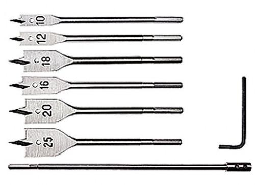Set burghiuri de lemn,10-12-16-18-20-25 mm, 6 buc., prelungitor 300 mm, coada cu 6 pereti MTX