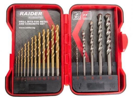 Set burghie pentru metal si zidarie Ø1.5-10mm 17piese Raider Power Tools
