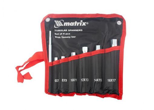 Set chei tubulare, cilindrice, galvanizate, 6-17 mm, cu antrenor, 7 buc// MATRIX