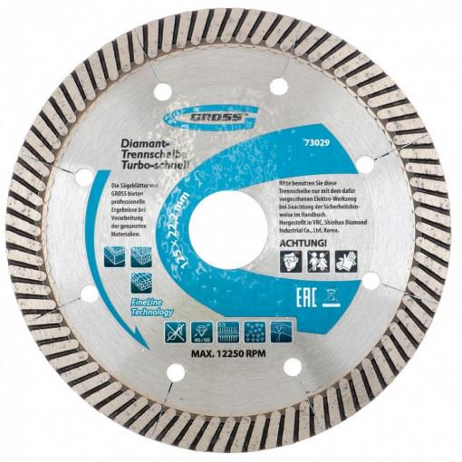 Disc diamantat 125 x 2,4 x 22,2mm, turbo, perforatie laser, taiere uscata // GROSS
