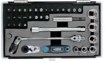 "Set de biți t, 1/4 "", cheia de antrenare, cu clichet, adaptor, S2 37 buc."