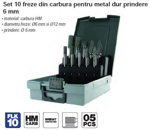 Set 10 freze din carbura pentru metal dur prindere 6 mm
