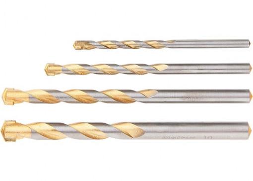 Set de burghie pentru beton Golden Line 5 - 6 - 8 - 10mm, coada cilindrica, Matrix