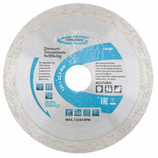 Disc diamantat pentru taiere umeda, muchie continua, 125 х 22,2 mm // GROSS