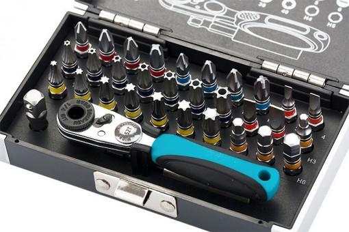 "Set biti, 1/4"", adaptor magnetic, 33 piese, cutie din plastic, Gross"