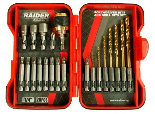 "Set biti 1/4"" x 50 mm si burghie cu baza hexagonala, 20 piese, Raider Power Tools"