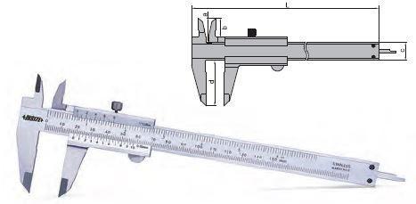 Subler mecanic de exterior, interior, cu tije de adancime, 0-150 mm, Insize