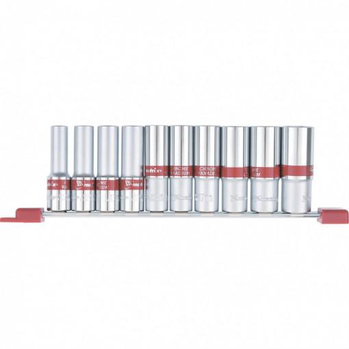 Set capete tubulare alungite 1/2, hexagonale, CrV, 10 buc, 10-22 mm, MTX Profesional