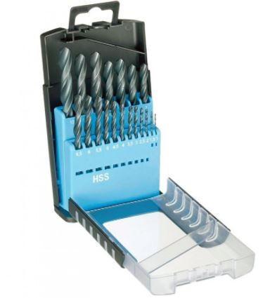 Trusa burghie DIN 338, HSS, laminate, 1,0-10,0 mm x 0,5 mm / 19 piese, Bohrcraft