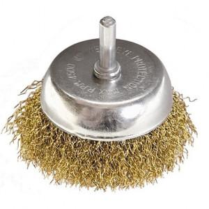 Perie cupa pentru bormasina, 50 mm, cu coada, sarma ondulata din otel// MTX Profesional