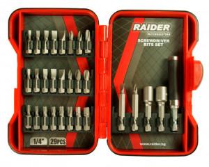 Set biti si adaptoare pt. surubelnita 29 piese, Raider Power Tools