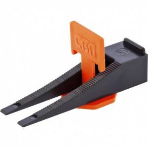 Distantiere pentru nivelat placi. Set clips + pana 50/50 buc. (galeata HDPE 1100 ml) // SiberTech