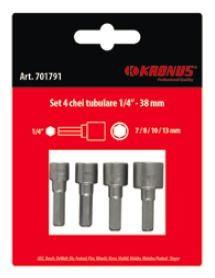 "Set capete tubulare 7 / 8 / 10 / 13 mm 1/4"" - 38 mm, Kronus"