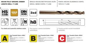 """Burghiu cu coada cilindrica pentru metal DIN 338 HSS-E ( Co 5% ) tip N, tratament special """"Gold"""""""