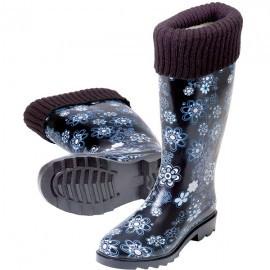 Cizme de cauciuc pentru ploaie cu captusala, marimea 35, albastru, Stocker