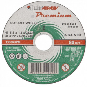Disc de taiat metal si otel inoxidabil, 115 x 1,0 x 22,23 mm, Premium (Luga) // Rusia
