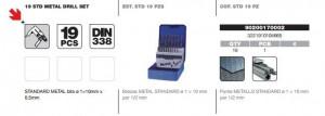 Set burghie DIN 338, laminate, HSS 1-10 mm x 0,5 mm / 19 piese, Tivoly