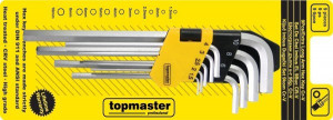 Set imbus hexagonal scurt 1.5 - 10 mm 9 buc Topmaster Profesional