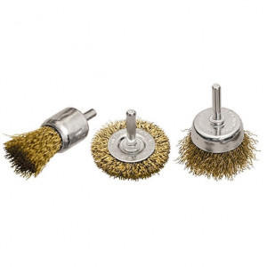 Set perii pentru bormasina, 3 buc, plata 50 mm + 2 buc. cupa 25-50 mm, cu cozi, sarma din otel// MTX Profesional