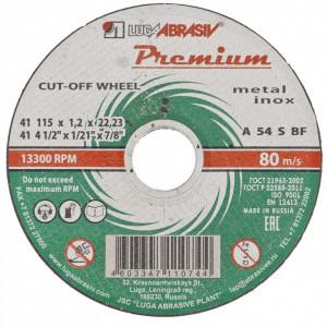 Disc de taiat metal si otel inoxidabil, 115 x 1,2 x 22,23 mm, Premium (Luga) // Rusia
