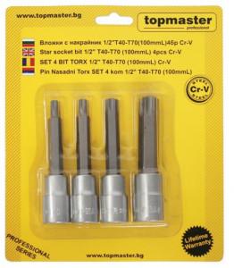 Set 4 biti torx act.1/2 T40-T70 100mm CR-V, Topmaster
