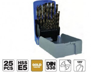 Set burghie DIN 338, rectificate, HSS-Co 5% 1-13 mm x 0,5 mm -25 piese
